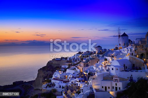 istock Night view of Santorini island, Greece 598237100