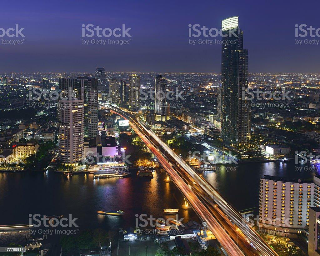 Night view of Saphan Taksin bridge in Bangkok, Thailand stock photo