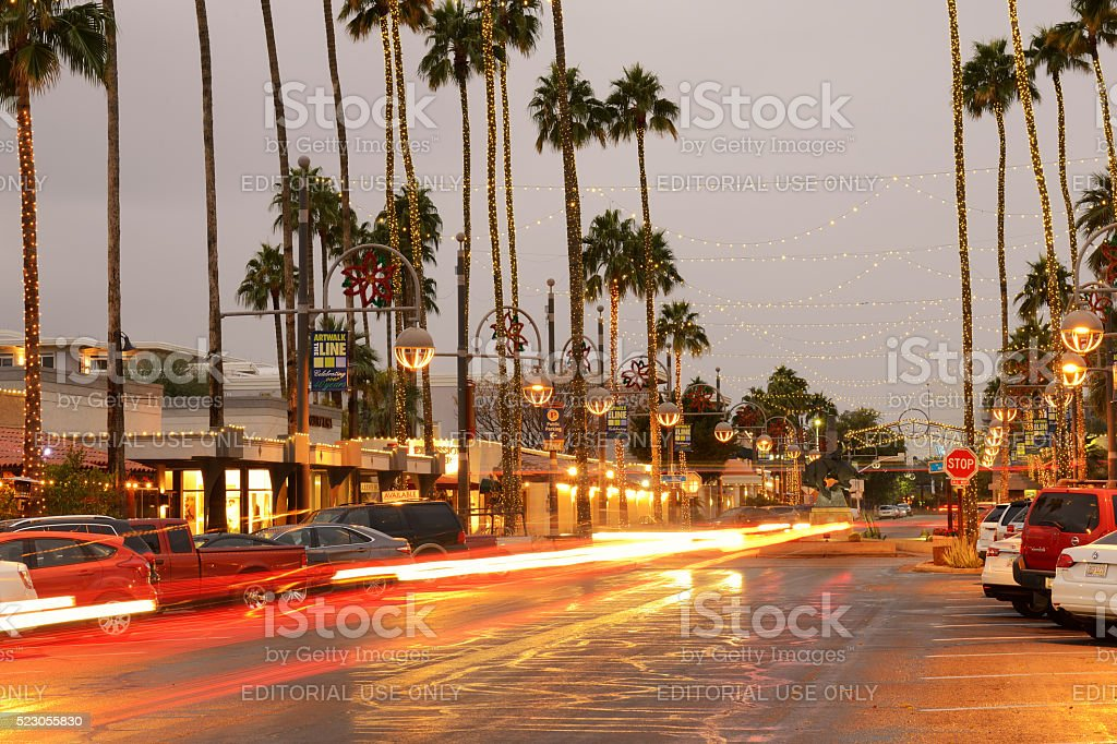 Night View of Scottsdale Arts District in Arizona stock photo