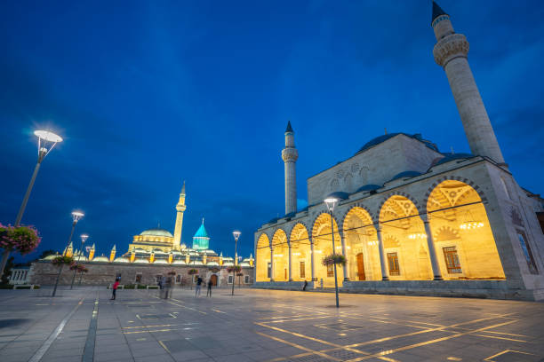 Night view of Selimiye Mosque and Mevlana Museum in Konya, Turkey Night view of Selimiye Mosque and Mevlana Museum in Konya, Turkey. selimiye mosque night stock pictures, royalty-free photos & images