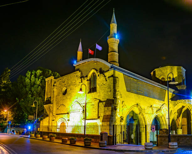 Night view of Selimiye mosque at Lefkosa, Cyprus Night view of Selimiye mosque at Lefkosa, Cyprus selimiye mosque night stock pictures, royalty-free photos & images