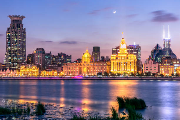 Vista nocturna de Shanghái, China - foto de stock