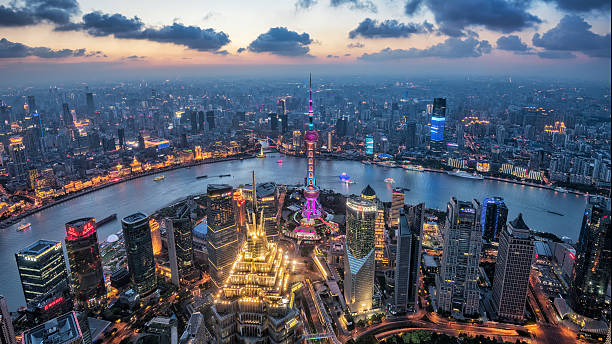 Night view of Shanghai City Shanghai, China cityscape overlooking the Financial District and Huangpu River. shanghai stock pictures, royalty-free photos & images
