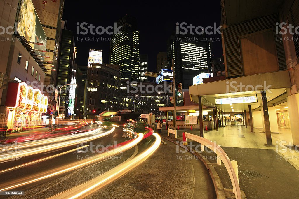 Night View of Shinbashi Station Ginza Exit stock photo