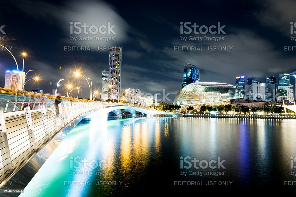Night view of Singapore buisiness district stock photo