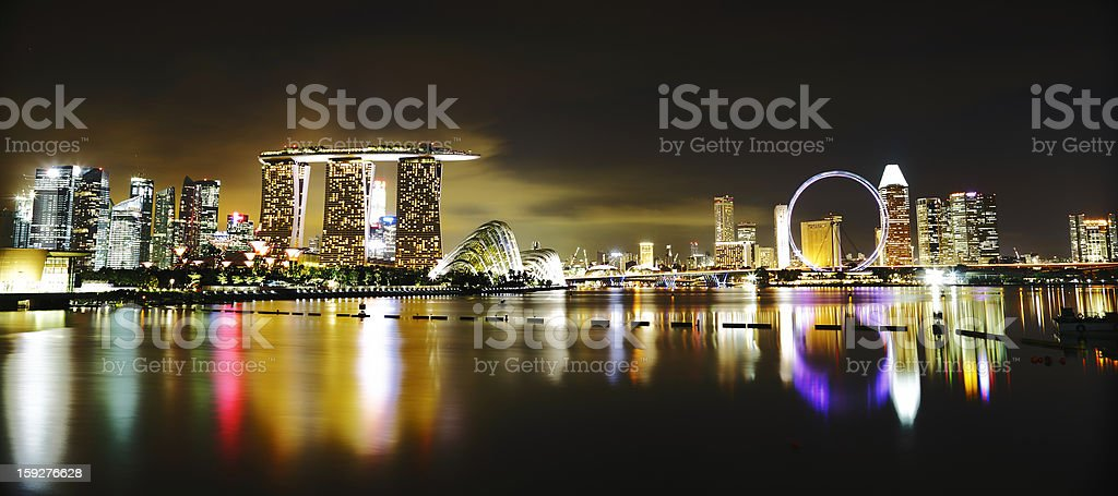 Night view of Singapore skyline over Marina Bay royalty-free stock photo