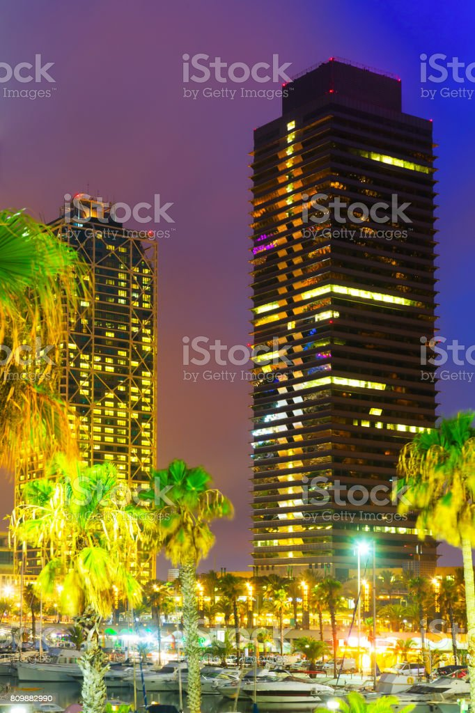 Night view of skyscrapers  center of nightlife at Barcelona stock photo