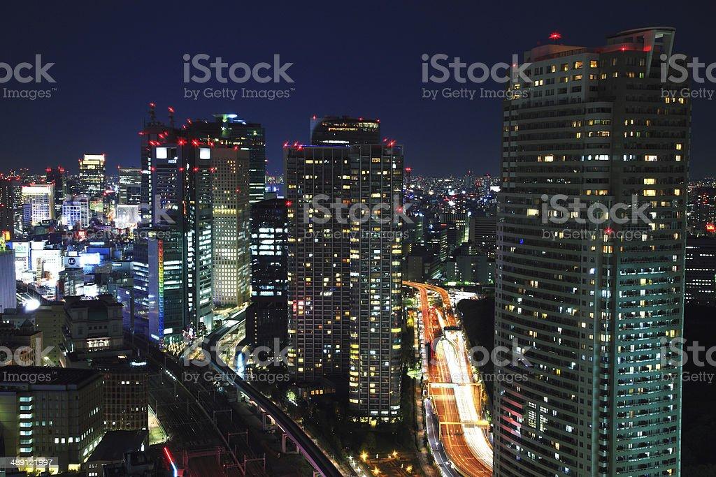 Night View of Skyscrapers in Shiodome stock photo