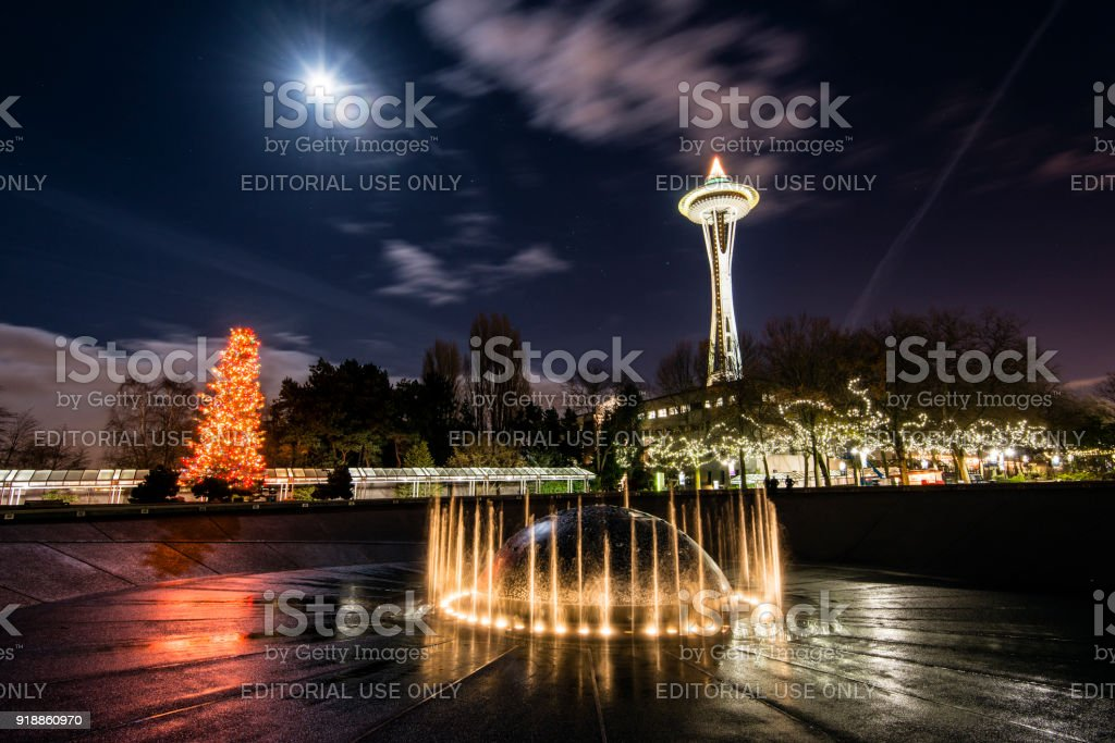 night view of space needle adorned with christmas lights seattle center seattle washington