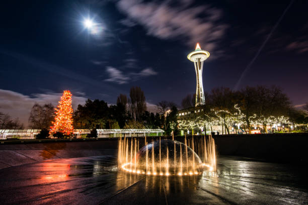 Night view of Space Needle adorned with Christmas lights, Seattle Center, Seattle, Washington, USA stock photo