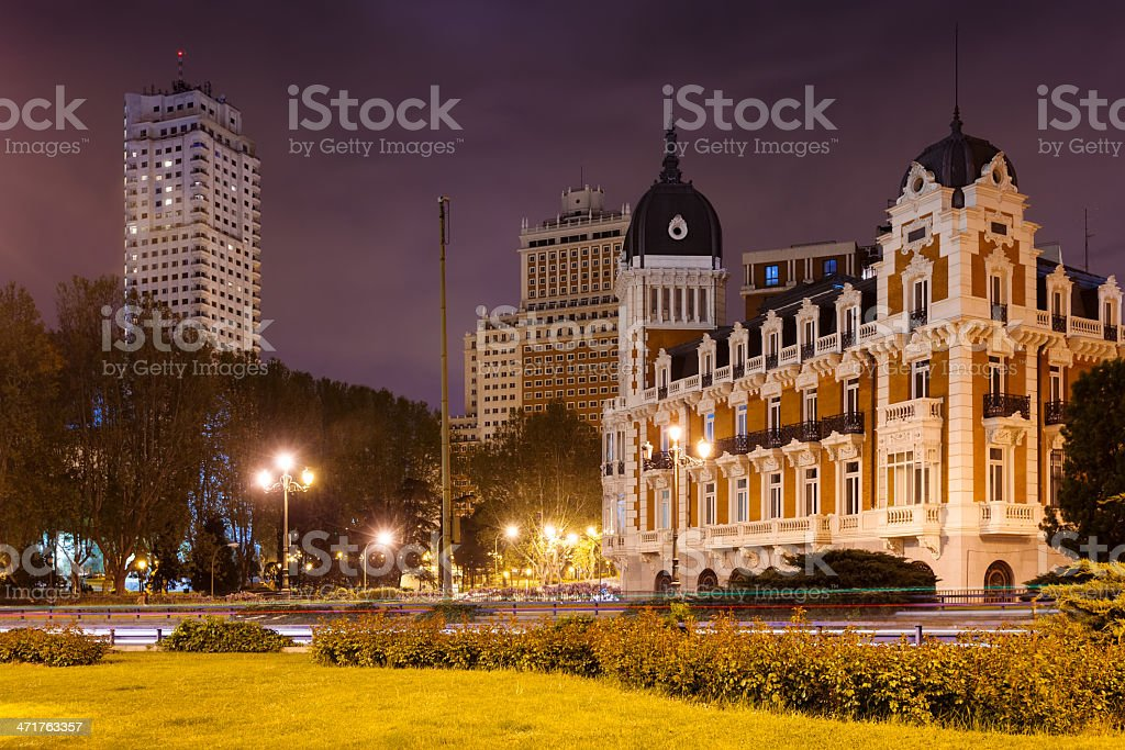 Night view of Spain Square in Madrid,= royalty-free stock photo