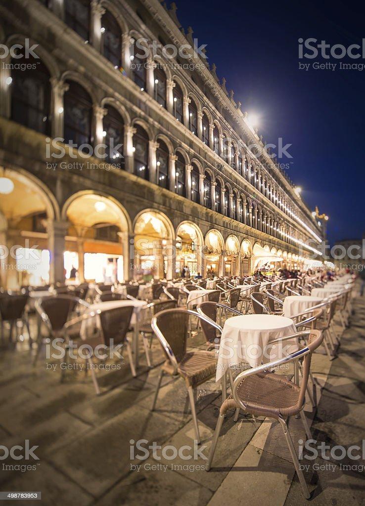 Night view of square St Marko in Venice stock photo