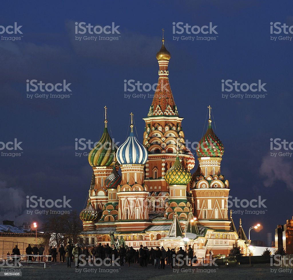 Night view of St. Basil's Cathedral royalty-free stock photo
