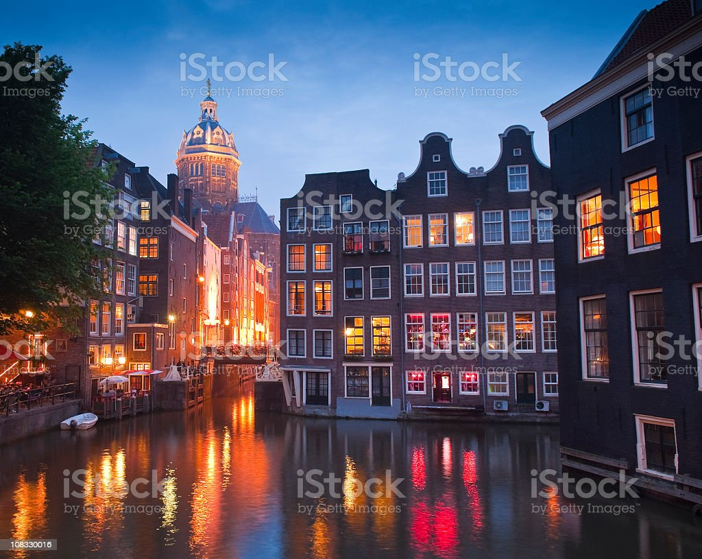 Night view of St Nicholas Church in Amsterdam royalty-free stock photo