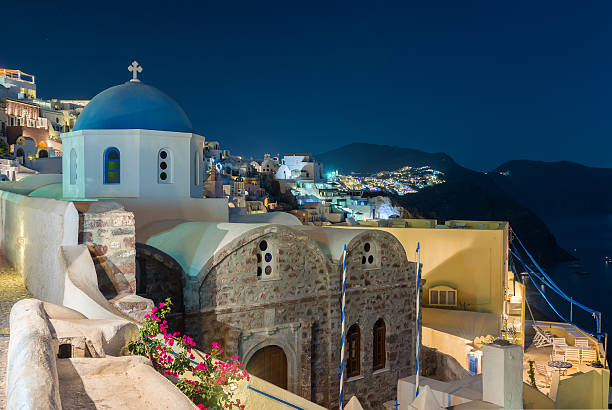 Night view of St.Nicholas at oia , Santorini stock photo