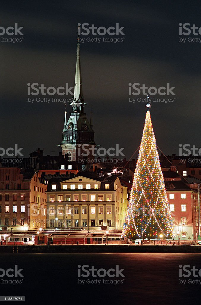 Night view of Stockholms old city with christmas tree stock photo