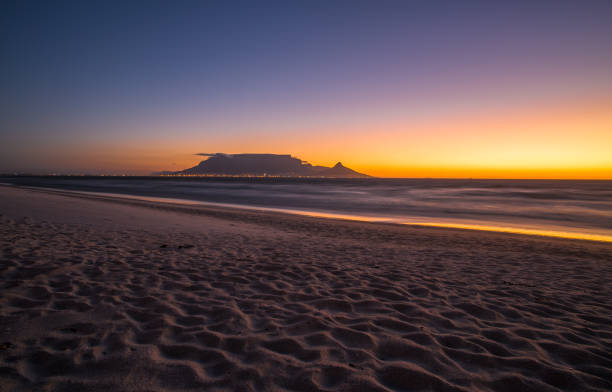Night view of Table Mountain and Cape Town, South Africa stock photo