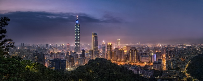 This is a night view of Taipei city in Taiwan. The night view of Taipei city is well known as a tourist destination in this country.