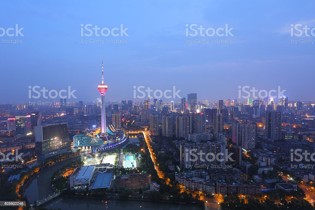 Night view of television tower in Chengdu downtown stock photo