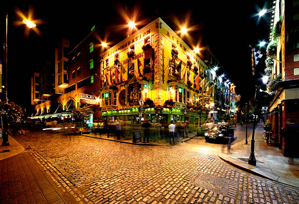 Night view of Temple Bar Street in Dublin, Ireland stock photo