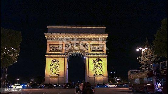 istock night view of the arc de triomphe de l'etoile, paris 1132163728