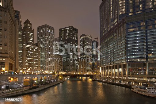 483312814 istock photo Night view of the Chicago River from Michigan Avenue 1166882579