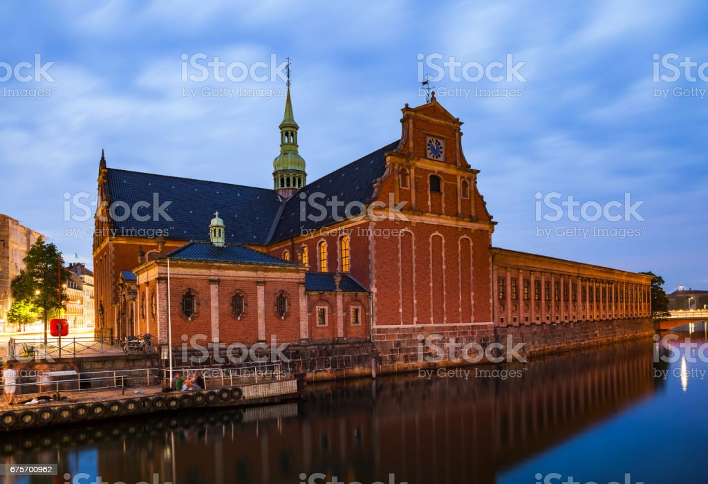 Night view of the Church of Holmen (Holmens Kirke) and Holmens Canal in central Copenhagen stock photo