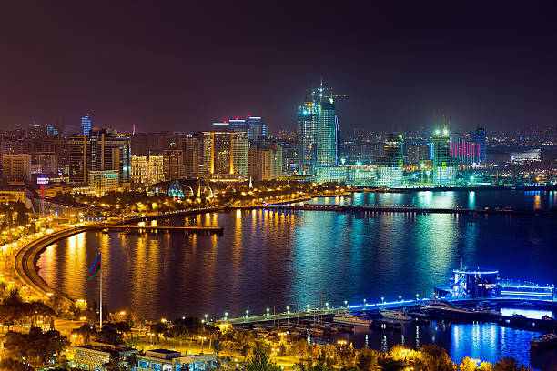 Night view of the city of Baku stock photo