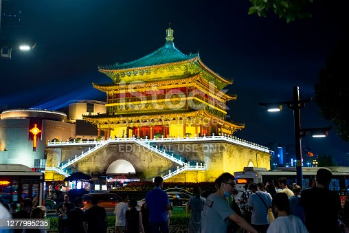 istock Night view of the Clock Tower in Xi 'an 1277995235