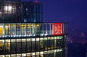 Night view of the Deutsche Bahn (DB) office building