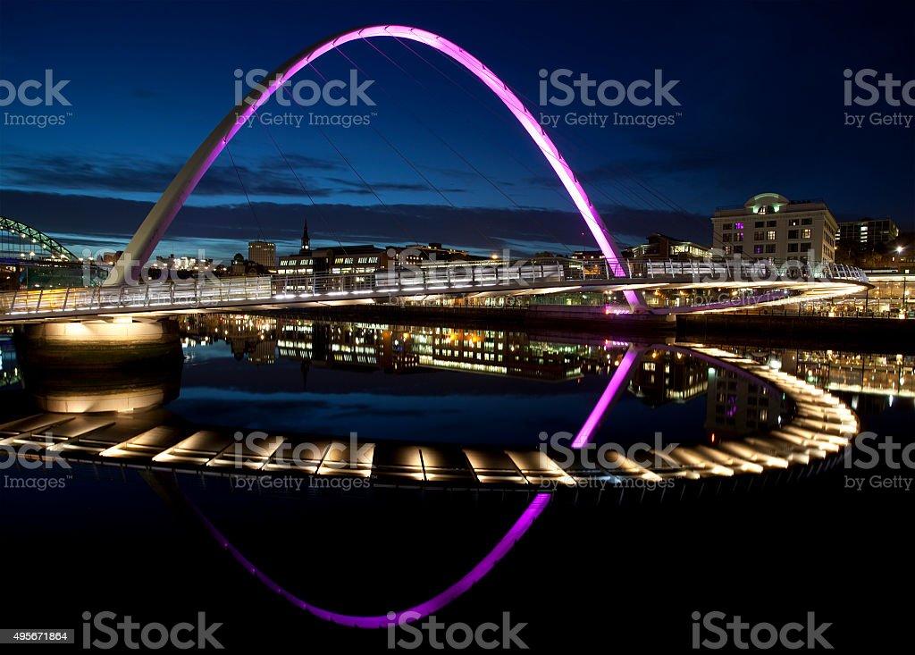 Night View of the Gateshead Millennium Bridge stock photo