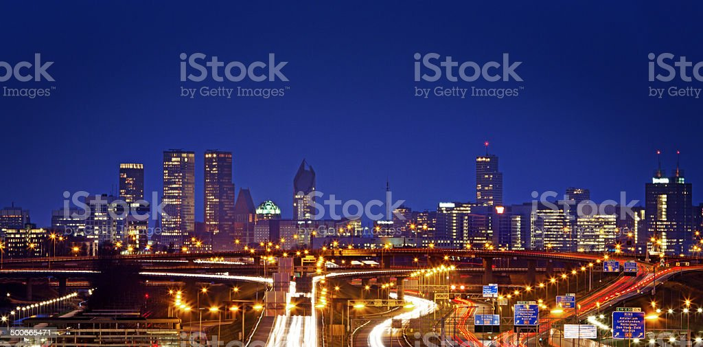night view of  The Hague stock photo