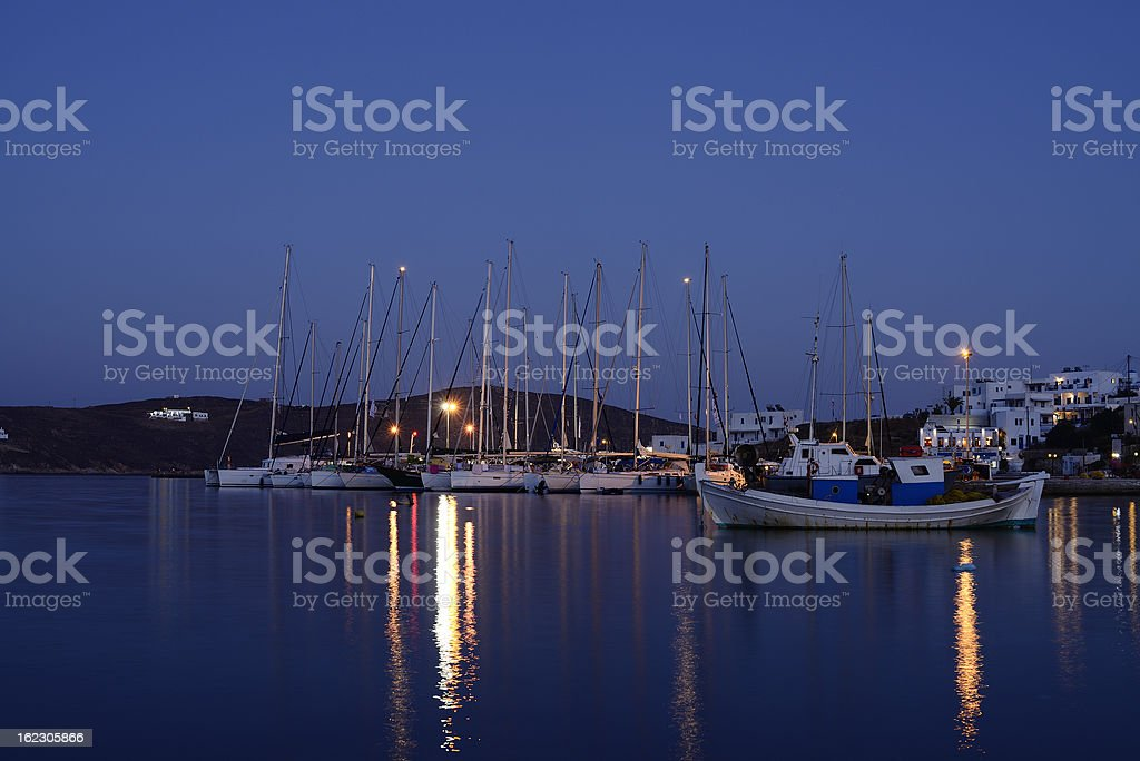 night view of the harbour in Serifos Island royalty-free stock photo