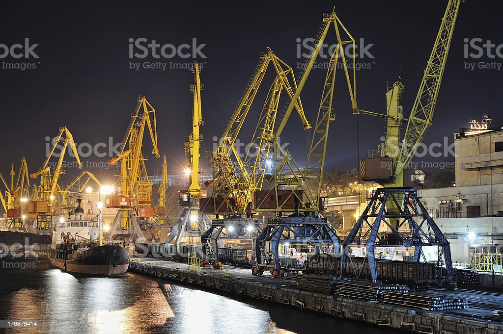 night view of the industrial port and ship royalty-free stock photo