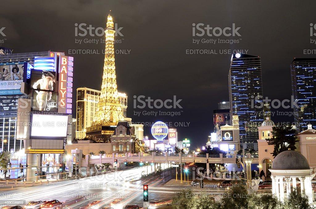 night view of the las vegas strip stock photo
