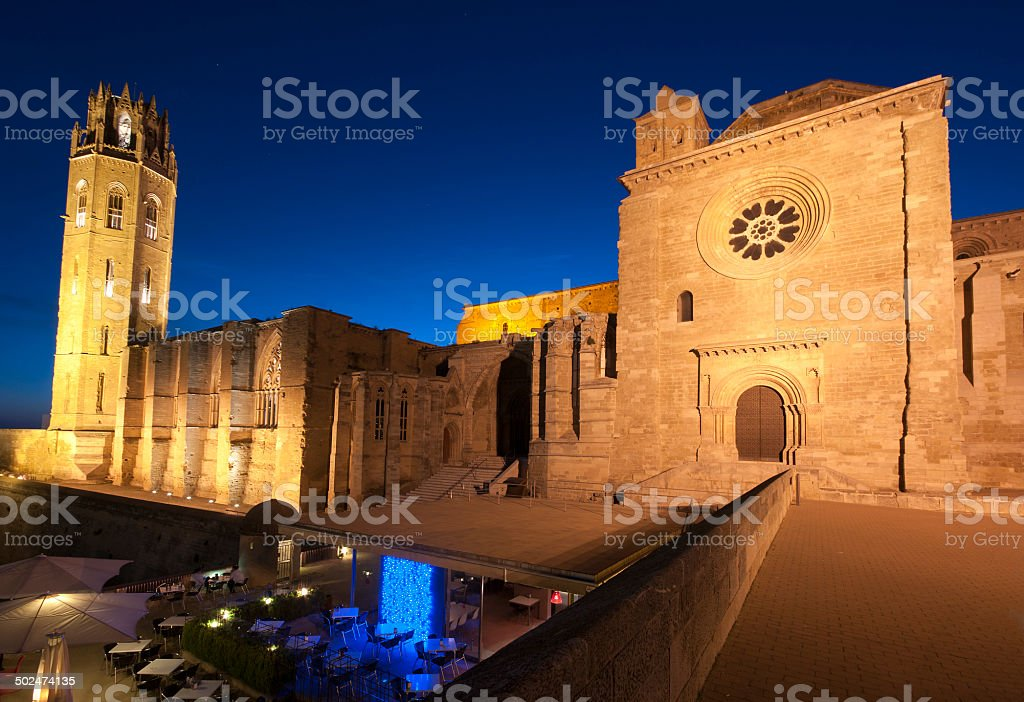 Night View of the LLeida Cathedral.Catalonia.Spain stock photo