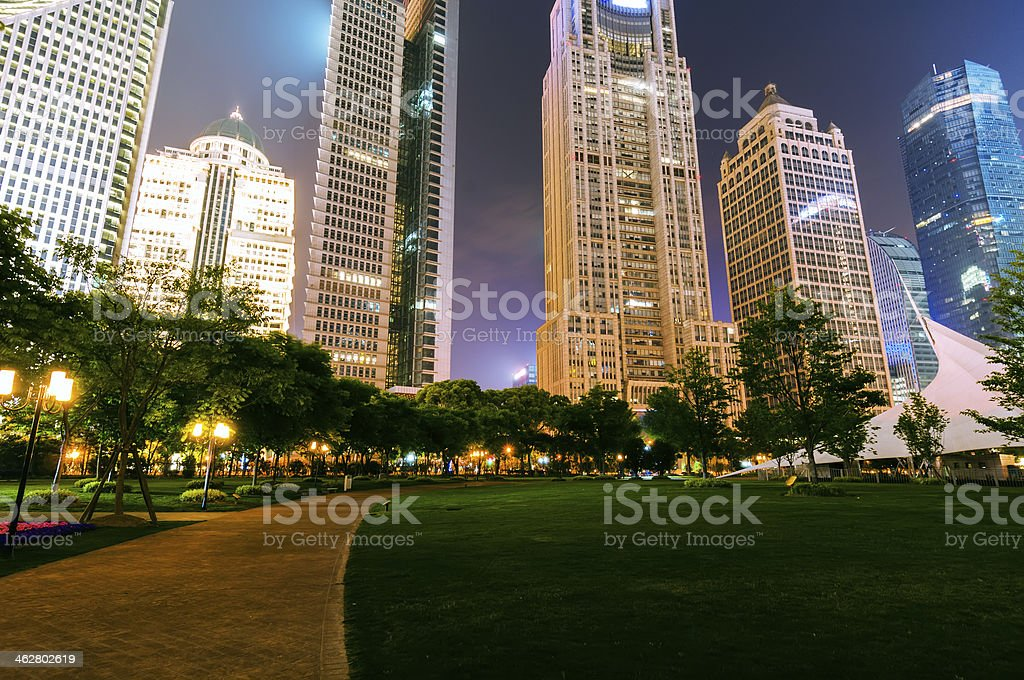 night view of the lujiazui financial centre stock photo
