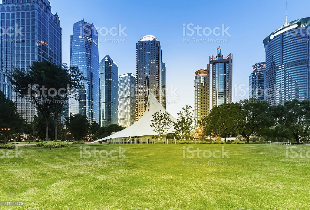 night view of the lujiazui financial stock photo