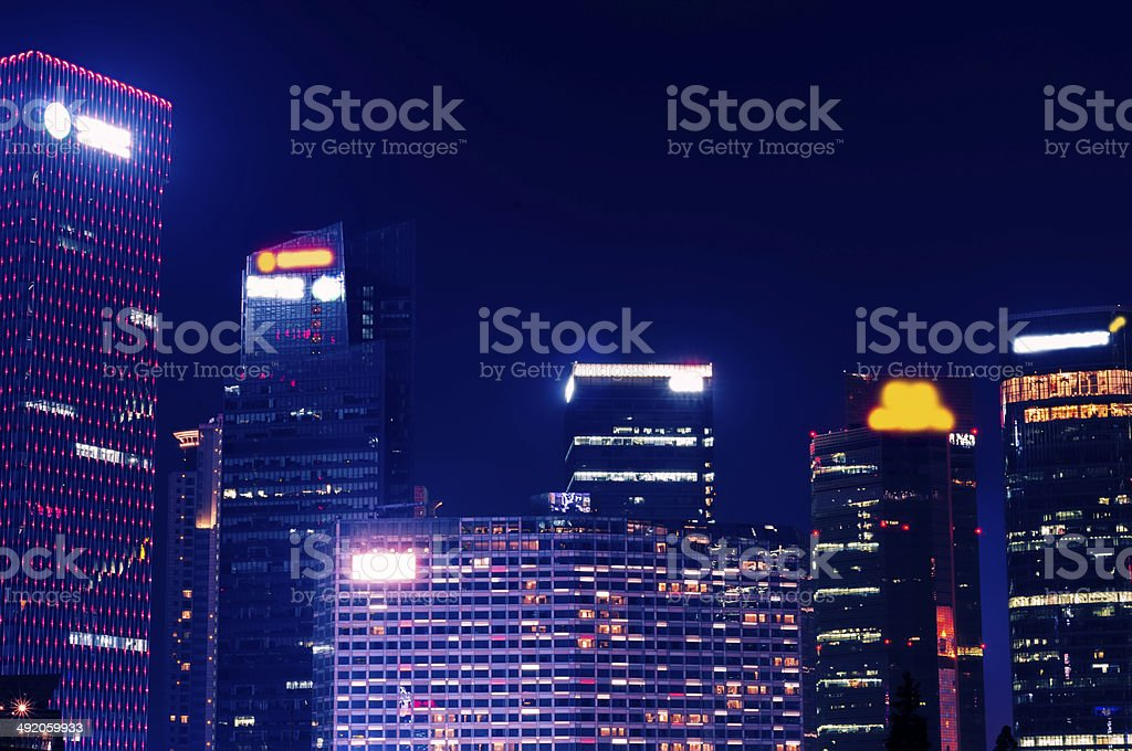 night view of the lujiazui stock photo