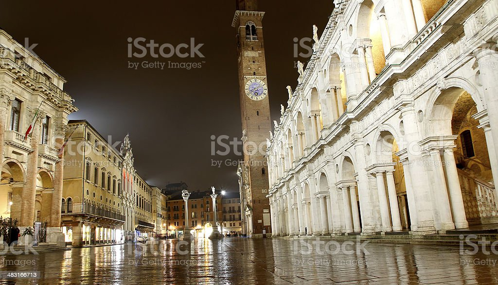 Night view of the marvellous Piazza dei Signori in vicenza stock photo
