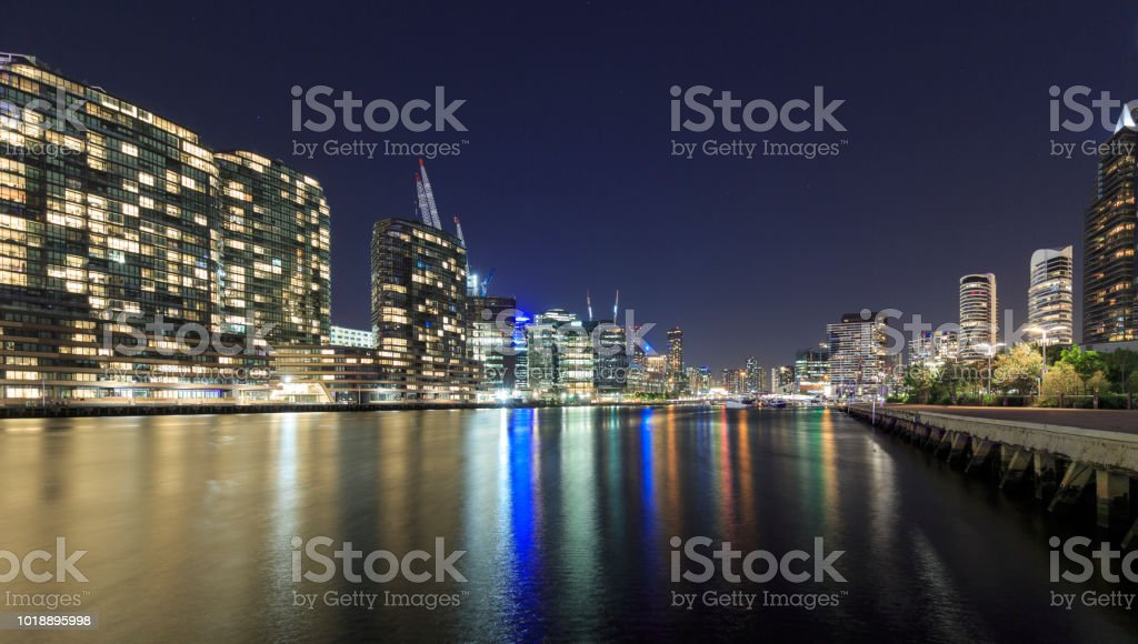 Night view of the Melbourne Docklands skyline, Australia stock photo