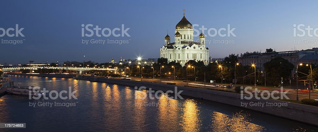 Night view of the Moskva River and Cathedral, Moscow, Russia stock photo