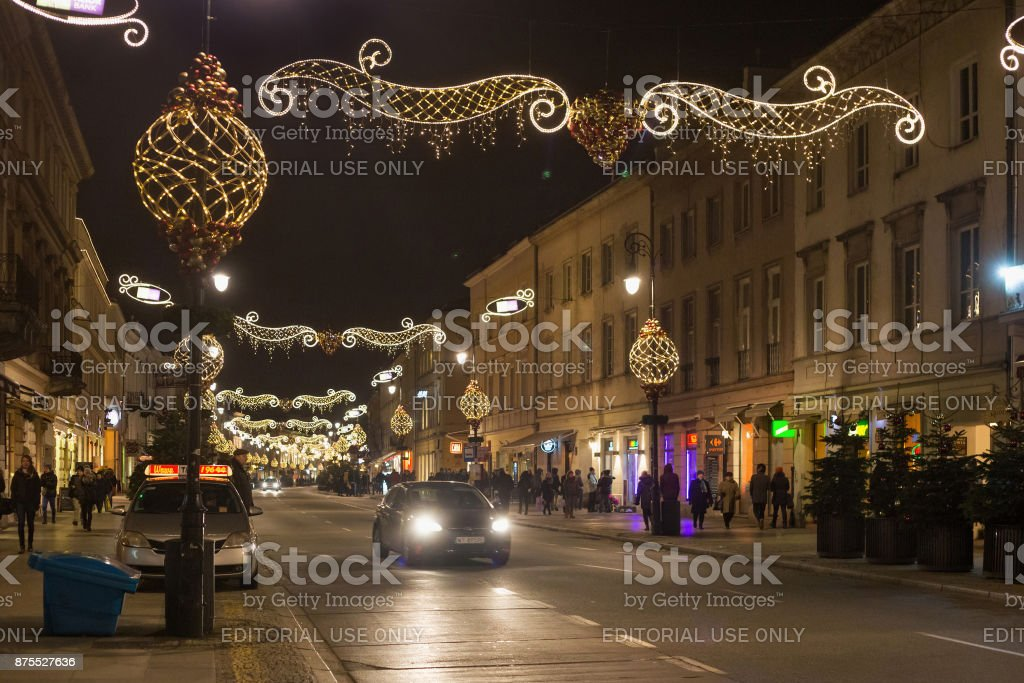Night view of the Nowy Swiat street. stock photo
