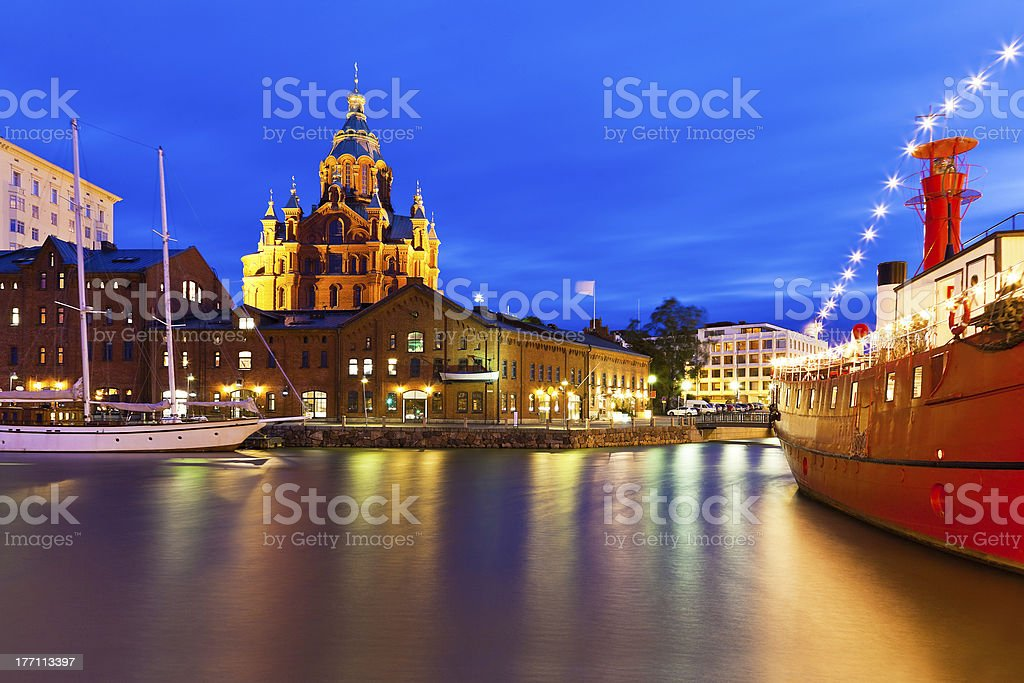 Night view of the Old Town in Helsinki, Finland royalty-free stock photo