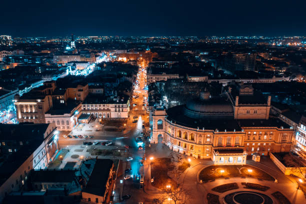 Night view of the opera house in Odessa stock photo
