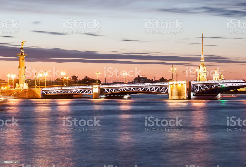Night view of the Peter and Paul Fortress, St. Petersburg stock photo
