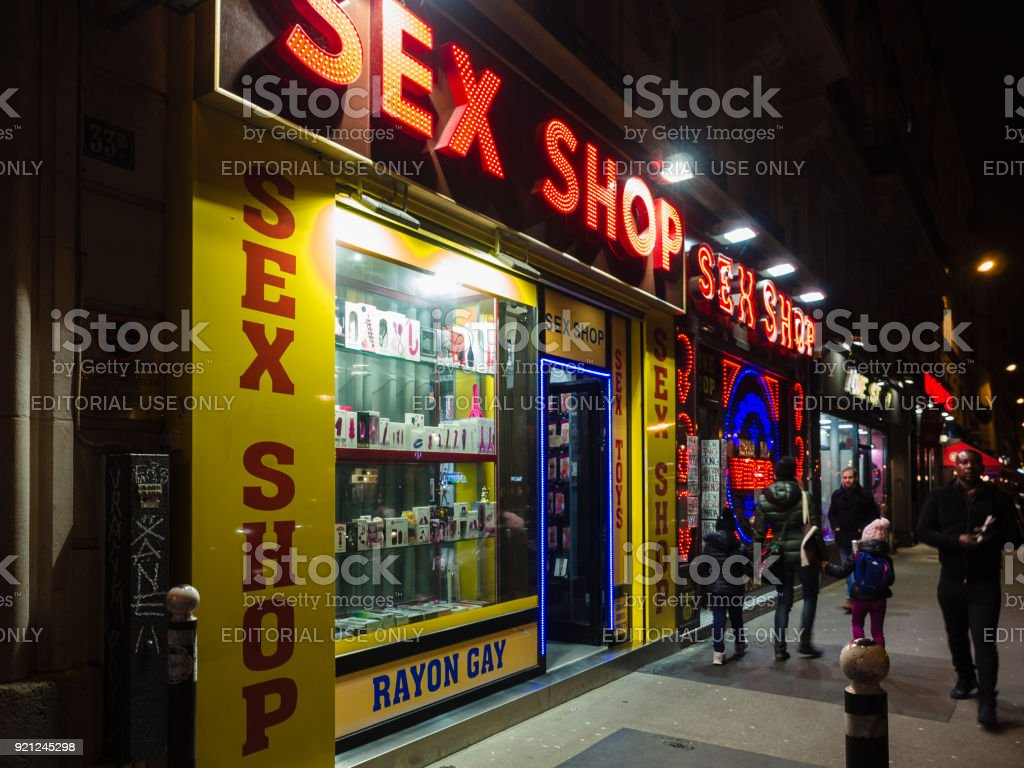 Night view of the Pigalle district, famous for its numerous sex shops and night clubs. stock photo