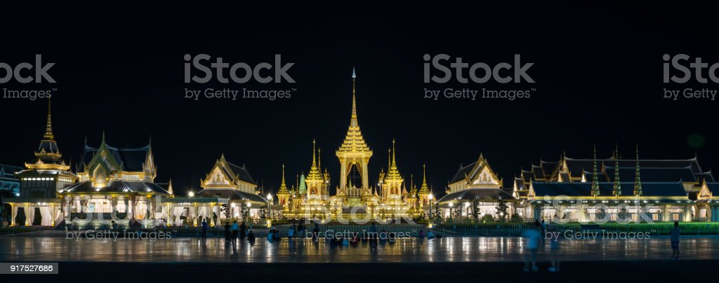 Night view of The Royal Crematorium for His Majesty King Bhumibol Adulyadej and pavilions. stock photo