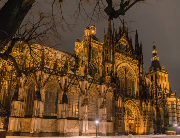 night view of the Saint Jan Cathedral stock photo