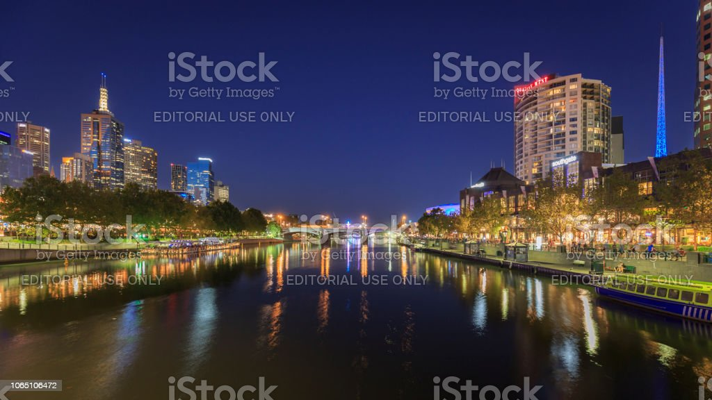 Night view of the skyline and Yarra river in Melbourne, Australia stock photo
